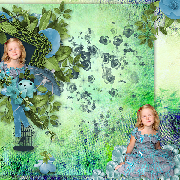 "Nouveau kit de Lia Scrap ""Oriental blue"""