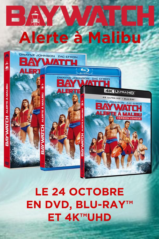 BAYWATCH - ALERTE A MALIBU , en DVD, Blu-ray™, Blu-ray™ 4K UHD le 14 octobre chez Universal Pictures Vidéo