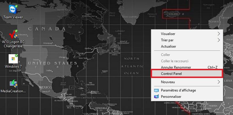Panneau de confoguration dans le menu contextuel du bureau de Windows 10