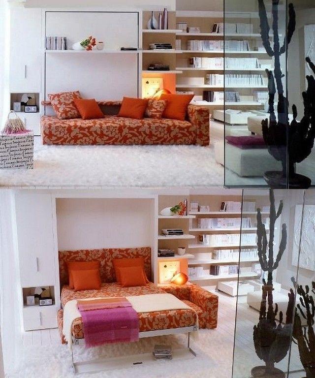 Comment Aménager Une Petite Chambre à Coucher U2013 Canapé Convertible. Un Lit  Descend Able Qui Vous Aide à Gagner De L`espace