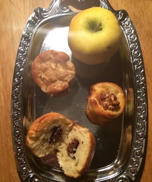 Muffins pomme/cannelle/sirop érable, muffins cœur Nutella et muffins chèvre/miel/noix