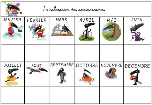 Affichage_calendrier des anniversaires_Loup