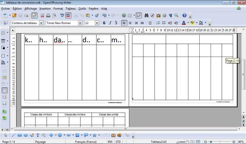 Tableau de conversion et tableau de numération