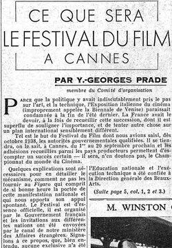 CE QUE SERA LE FESTIVAL DU FILM A CANNES, Le Figaro, 18 août 1939