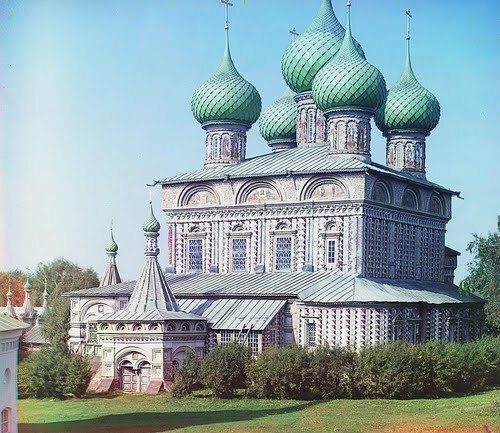 Church of the Resurrection in the Grove (from the other side), Kostroma; 1910 Sergei Mikhailovich Prokudin-Gorskii Collection (Library of Congress).