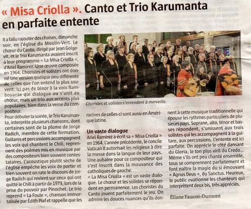 Les concerts de la MISA CRIOLLA les 5 et 6 octobre 2019