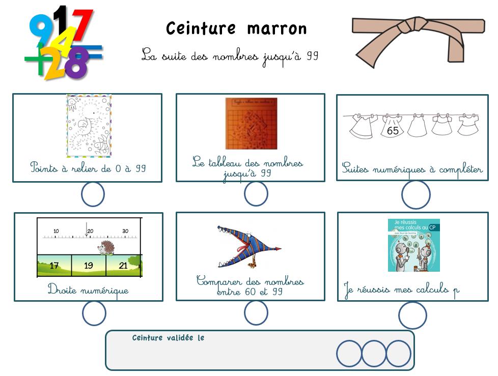 Ceintures Maths Nombres et Calculs CP Maitresse, au tableau !