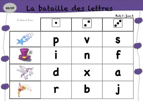Bataille des lettres Capitales/cursives