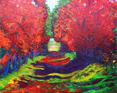313.l'automne. Acrylique sur toile de 1m x 0,80 (dec.2011)