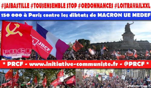 #jaibastille énorme manifestation à Paris : plus de 150 000 pour les droits des travailleurs contre le coup d'état social de Macron UE MEDEF (IC.fr-23/09/2017)