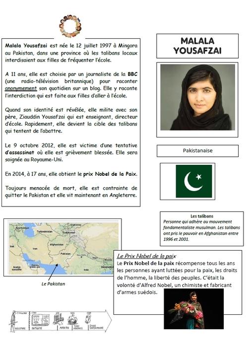 Notre affiche collective : projet Malala
