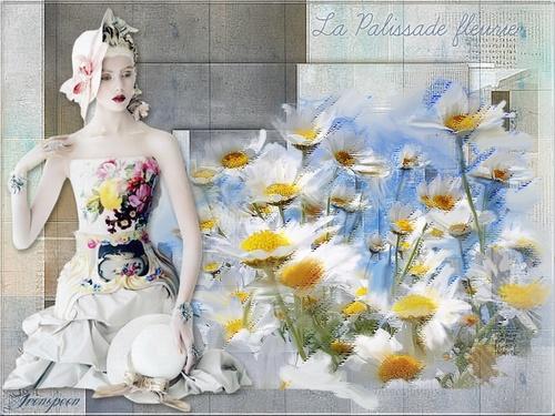 Marguerites peintes sur une palissade