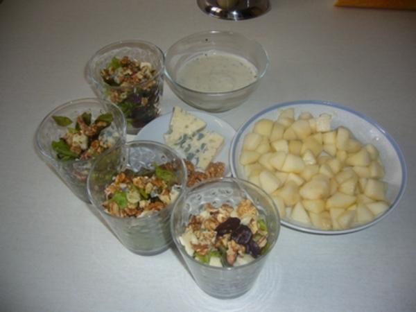 Verres gourmands aux poires et au Roquefort
