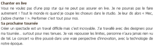 "Une interview pour ""Sunday Mirror"" !"