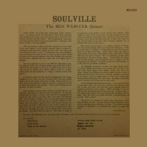 "The Ben Webster Quintet : Album "" Soulville "" Verve Records MG V-8274 [ US ]"