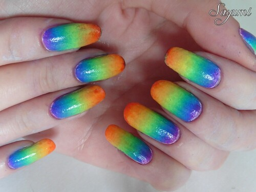 Nail Art Dégradé Arc-en-ciel