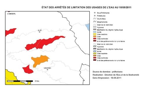 Restrictions d'eau dans le Tarn (18 août 2011)