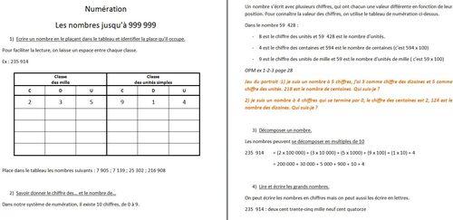 Les nombres jusque 999 999 (progression, trace écrite, exos)