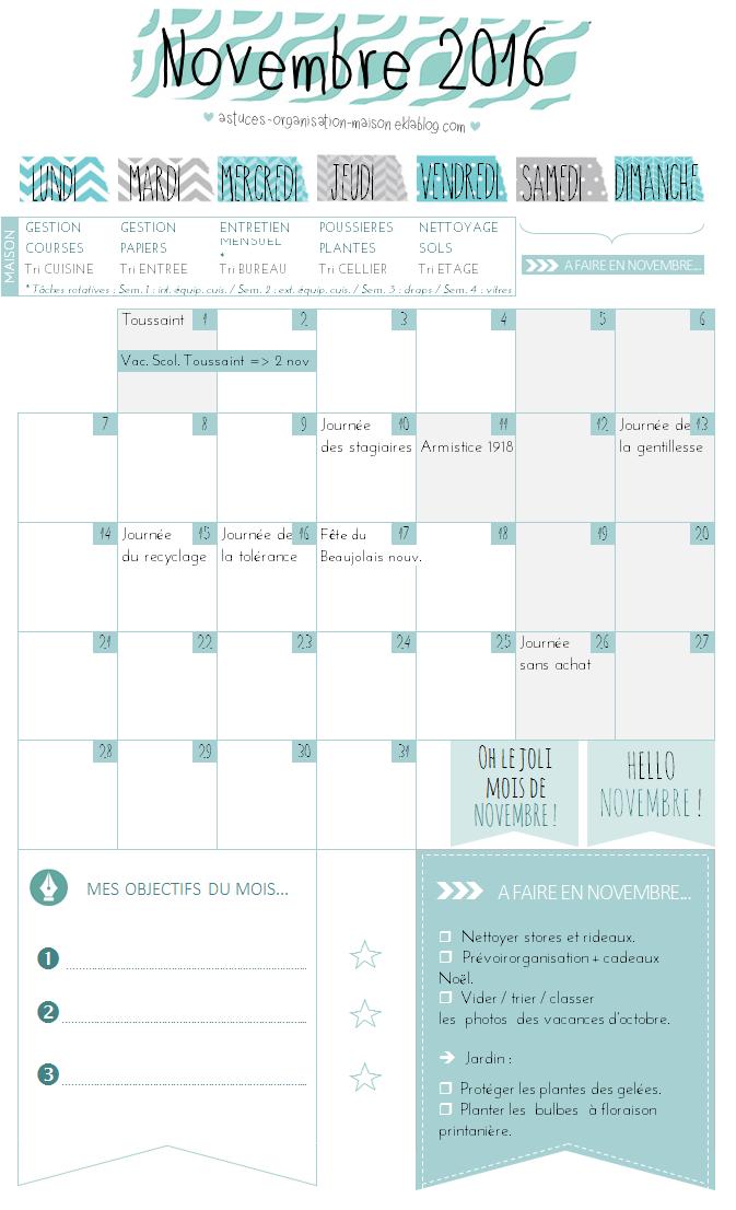 ✿ Un mois de novembre organisé {calendrier à imprimer}