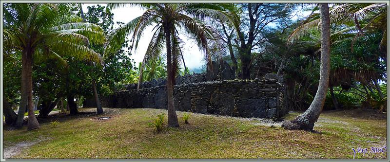 Marae à double gradins de Manunu vu pile et face - Maeva - Huahine - Polynésie française