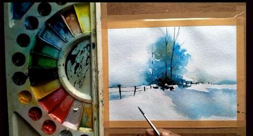 Dessin et peinture - vidéo 2322 : Un paysage hivernal sous la neige - peinture aquarelle.