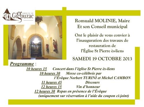 Inauguration de l'église de Gigouzac restaurée...