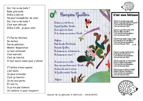 Paroles des chants de la période 4 - GS/CE1