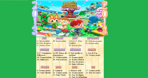 Le calendrier Animal Crossing New Leaf !! :D