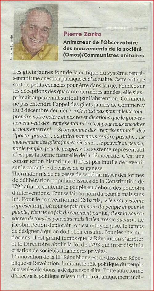 Le Système Représentatif sur la sellette... par Pierre Zarka