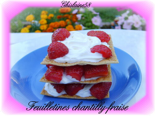 Feuilletines chantilly-fraise
