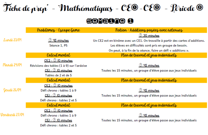 Maths CE1/CE2 Période 5