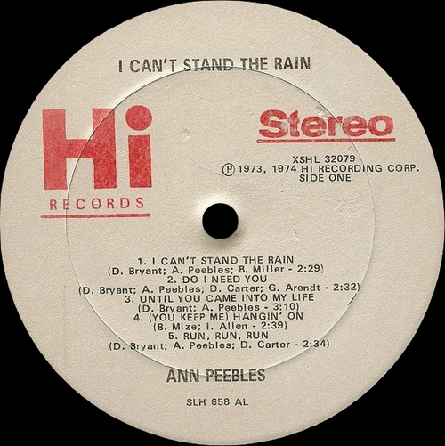 "Ann Peebles : Album "" I Can't Stand The Rain "" Hi Records XSHL 32079 [ US ]"