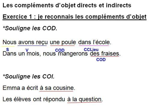 Grammaire: je reconnais et j'utilise les COD et les COI