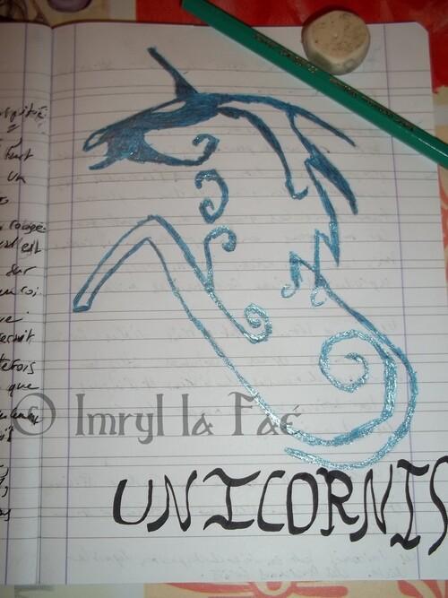 Unicornis en écriture bleuté magique ...
