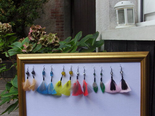 Boucles d'oreilles en plumes