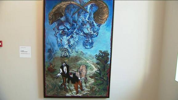 Gérard Garouste Le sablier ou l'âkédat d'Yitshak- 2019 - Huile sur toile 195 x 97 cm. Oeuvre créée pour l\'exposition au Chambon.