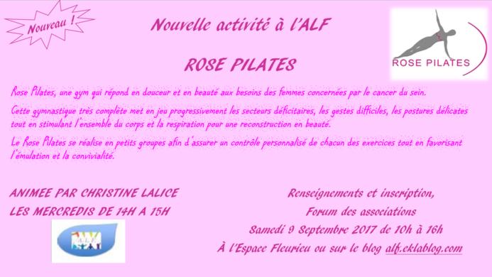Nouvelle activité à l'ALF - Rose Pilates