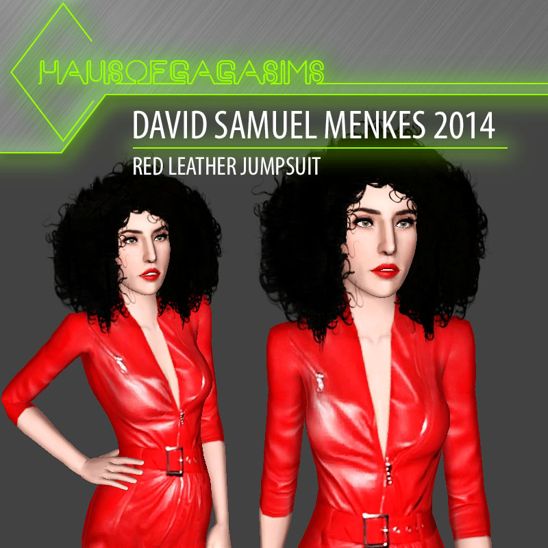 DAVID SAMUEL MENKES 2014 RED LEATHER JUMPSUIT