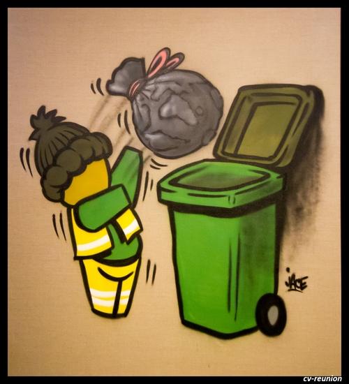 """""""A recycler"""" - Aérosol sur toile de lin"""