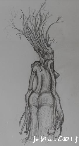 Projet croquis femme arbre