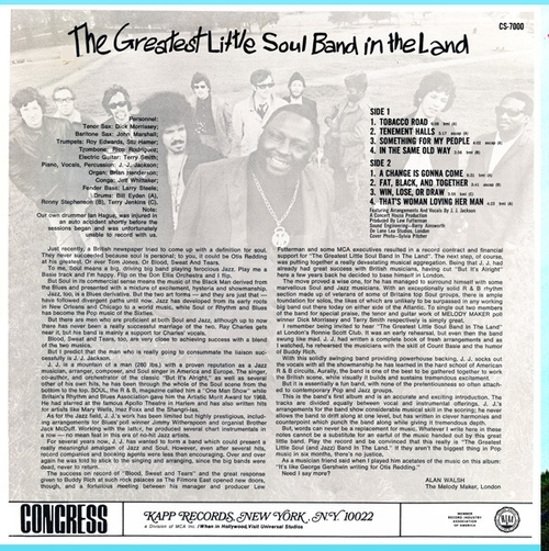 "J.J. Jackson : Album "" The Greatest Little Soul Band In The Land "" Congress Records CS-7000 [ US ]"