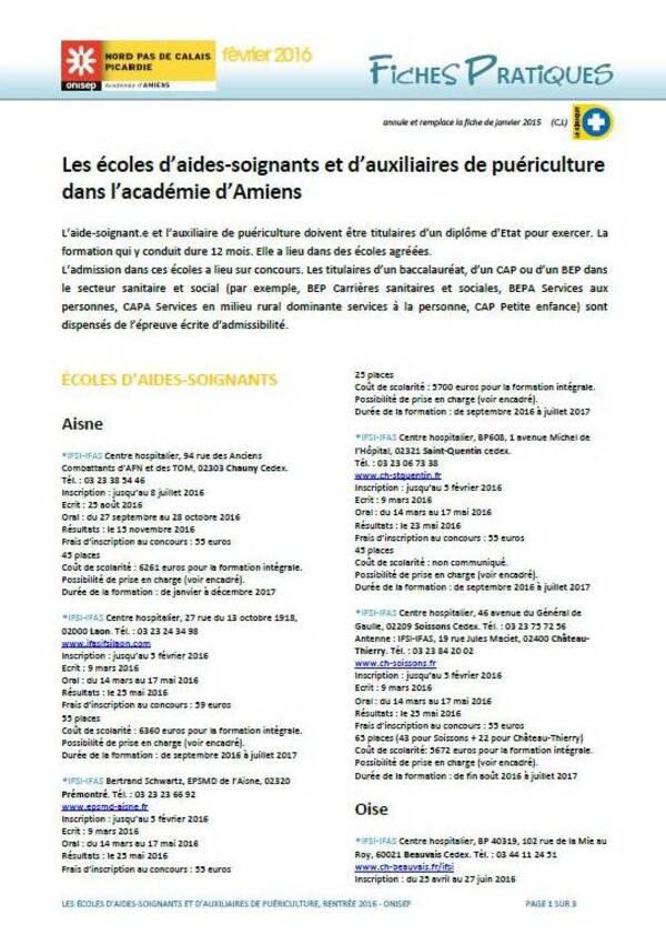 Les écoles d'aides-soignants et d'auxiliaires de puériculture dans l'académie d'Amiens