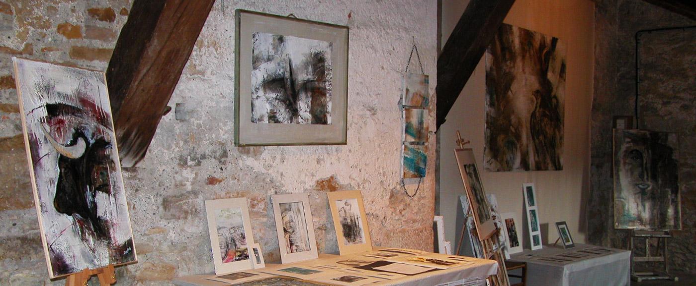 Navarrenx, Atelier d'art, création peinture contemporaine, Pyrénées Atlantiques, Béarn des Gaves.