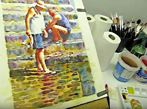 Dessin et peinture -vidéo 2403 : Les poissons éviscérés - peinture à l'aquarelle.