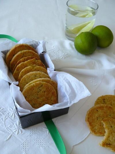Sablés citron vert, gingembre, noix de coco