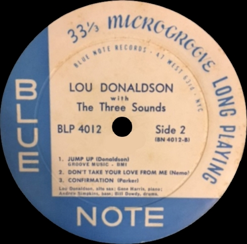 "Lou Donaldson With The Three Sounds : Album "" LD+3 "" Blue Note Records BLP 4012 [ US ]"