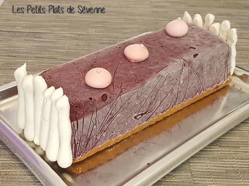 Bûche glacée fraises/myrtilles insert litchi sur lit de spéculoos