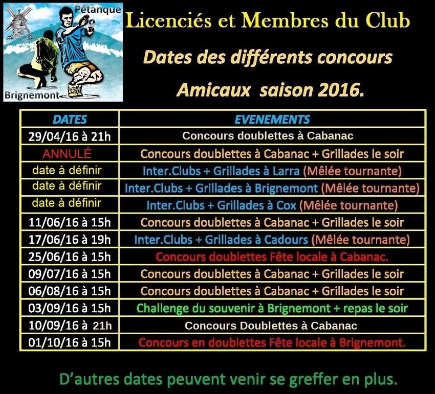 Concours Amicaux 2016.