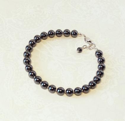 Bracelet Pierre d'Hématite 25 perles 6mm gris anthracite / Plaqué argent
