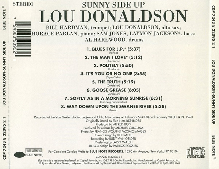 "Lou Donaldson : Album "" Sunny Side Up "" Blue Note Records BLP 4036 [ US ]"
